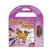Pferde und Ponys, Malblock mit vier Farbstiften